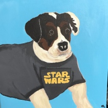 Tag the Mutt in a Star Wars shirt, Acrylic on Canvas 12x12