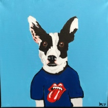 Ollie the Cattledog in a Stones shirt, Acrylic on Canvas 12x12