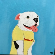 Ophelia the American Bulldog in a Funkadelic shirt, Acrylic on Canvas 12x12