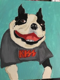Obi the Boston Terrier in a KISS shirt, Acrylic on Canvas 12x12
