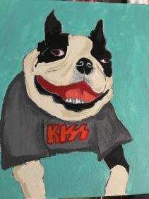 Obi the Boston Terrier in a KISS shirt, Acrylic on Canvas 12x12