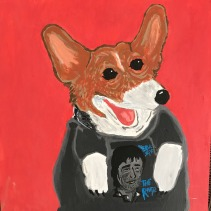 Rusty the Corgi in a Bruce Springsteen shirt, Acrylic on Canvas 12x12