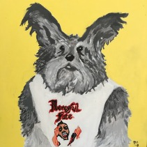 Lemon the mini schnauzer in a Mercyful Fate shirt, Acrylic on Canvas 12x12