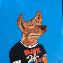 Luna the Pit mix in a Blink 182 shirt, Acrylic on Canvas 12x12